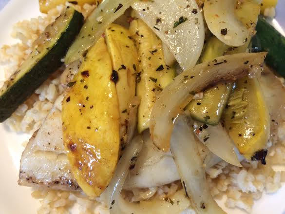 Grilled tilapia with summer squash